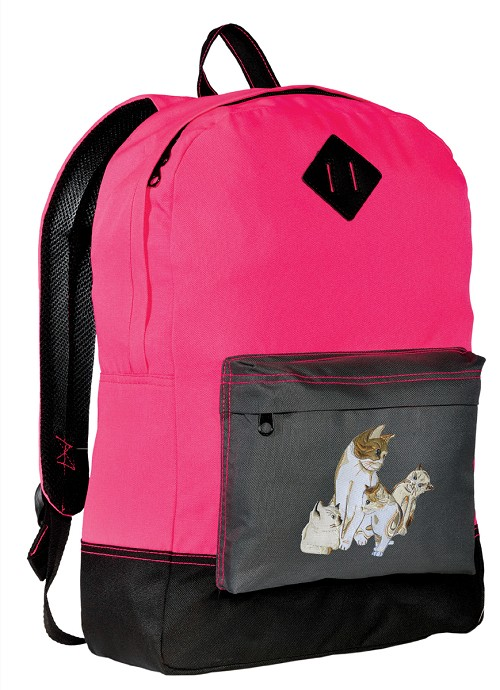 Cute Cats Backpack Classic Style HOT PINK