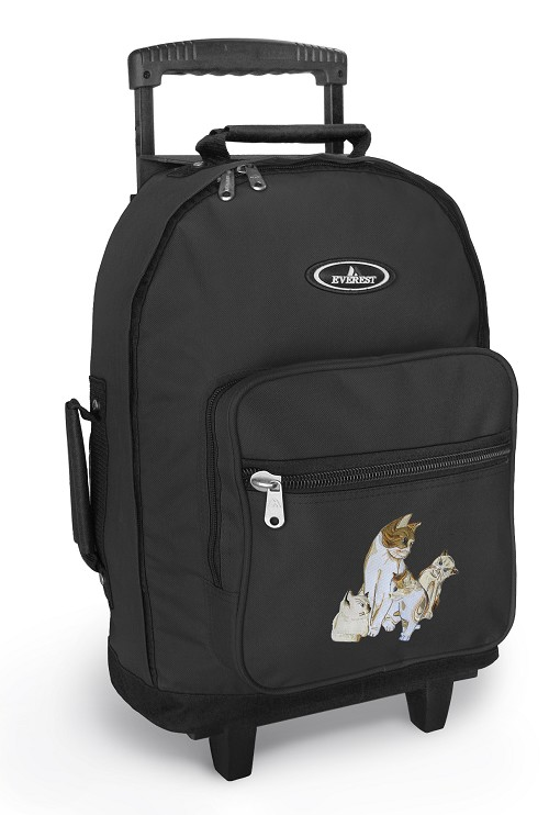 Cute Cats Rolling Backpacks Black
