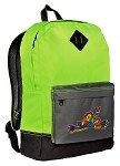 Peace Frogs Neon Green Backpack