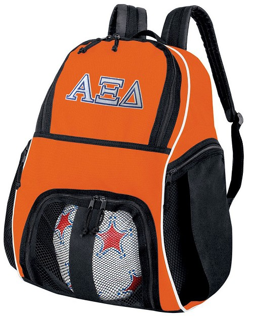 Alpha Xi Delta Soccer Ball Backpack or AZD Sorority Volleyball Gear Bag Orange