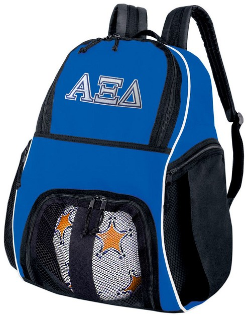 Alpha Xi Delta Soccer Backpack or AZD Sorority Volleyball Practice Bag Boys or Girls Blue