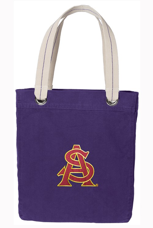 ASU Tote Bag RICH COTTON CANVAS Purple