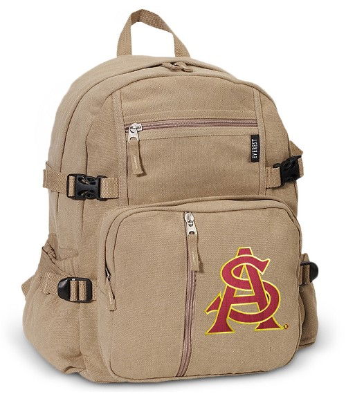 ASU Canvas Backpack Tan