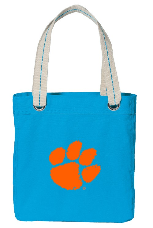 Clemson Tote Bag RICH COTTON CANVAS Turquoise