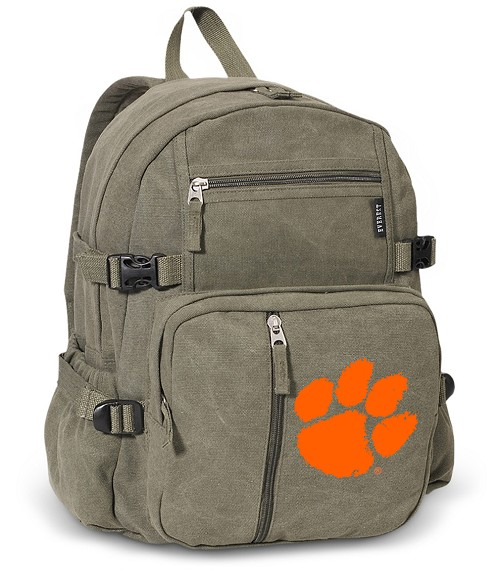 Clemson Canvas Backpack Olive