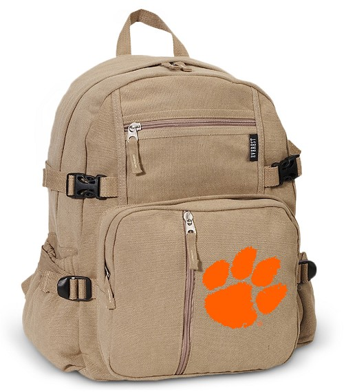 Clemson Canvas Backpack Tan