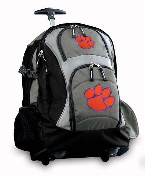 Clemson Rolling Backpack Black Gray