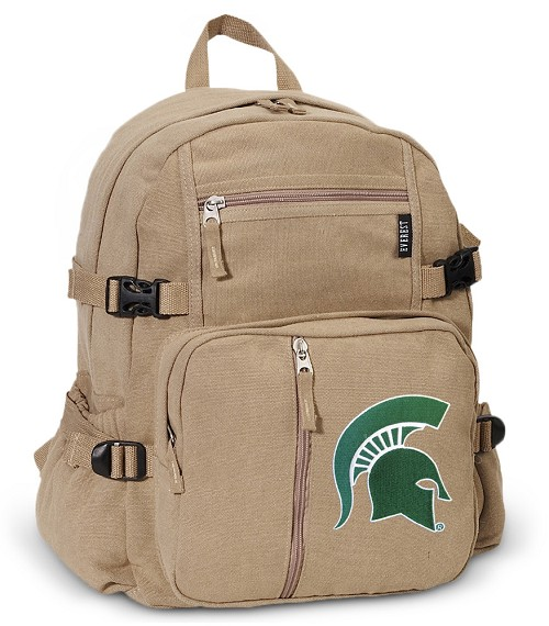 Michigan State Canvas Backpack Tan