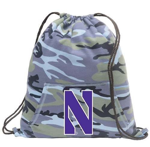 Northwestern Wildcats Drawstring Backpack Blue Camo