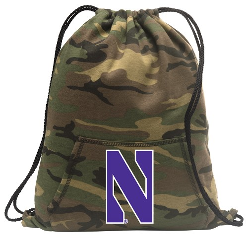 Northwestern Wildcats Drawstring Backpack Green Camo