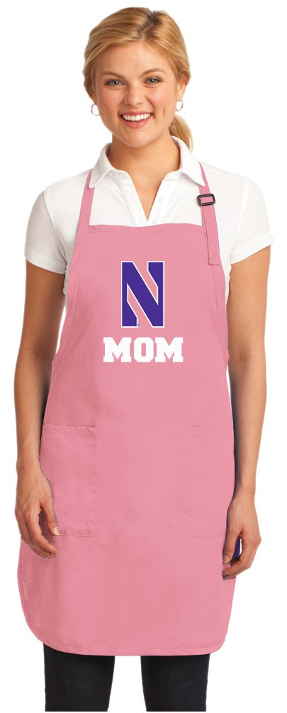 Northwestern University Mom Apron Pink - MADE in the USA!