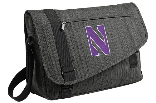 Northwestern Wildcats Messenger Laptop Bag Stylish Charcoal