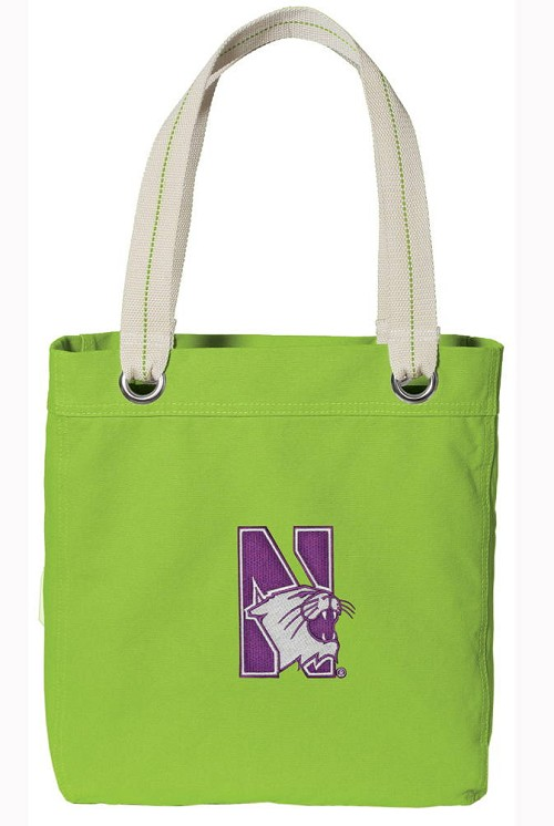 Northwestern University Tote Bag RICH COTTON CANVAS Green