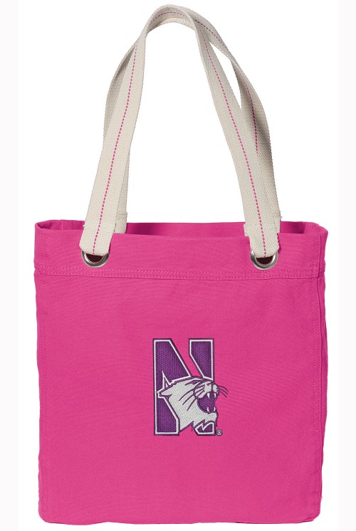 Northwestern University Tote Bag RICH COTTON CANVAS Pink