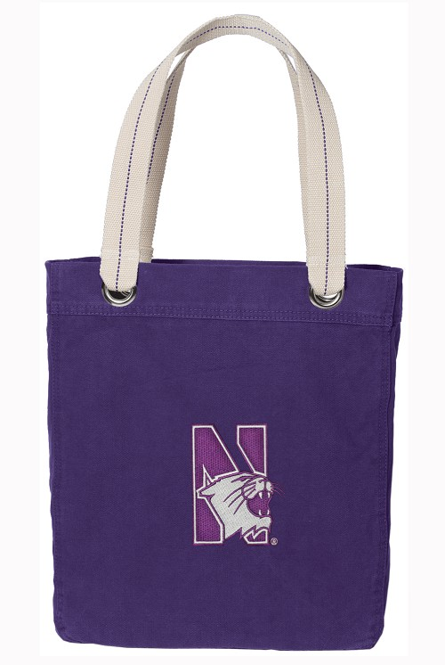 Northwestern University Tote Bag RICH COTTON CANVAS Purple