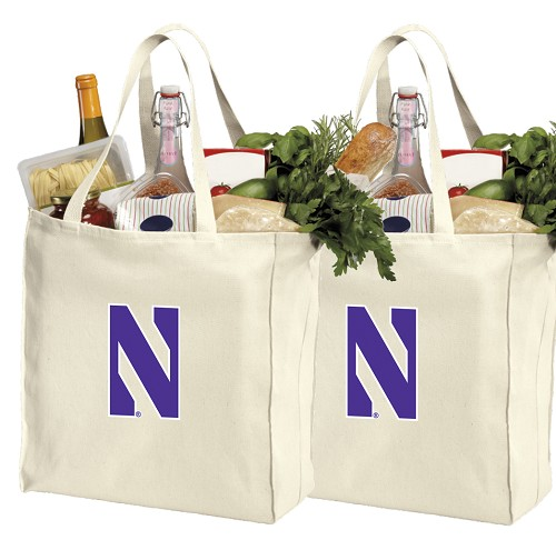 Northwestern University Shopping Bags Northwestern Wildcats Grocery Bags 2 PC SET