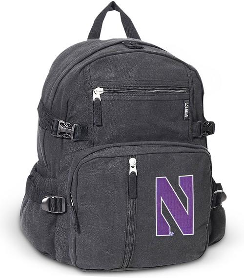 Northwestern University Canvas Backpack Black