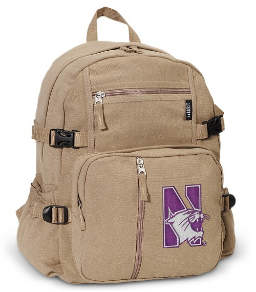 Northwestern University Canvas Backpack Tan