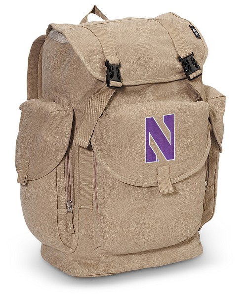 Northwestern Wildcats LARGE Canvas Backpack Tan
