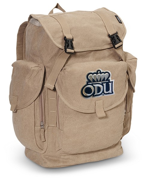Old Dominion University LARGE Canvas Backpack Tan