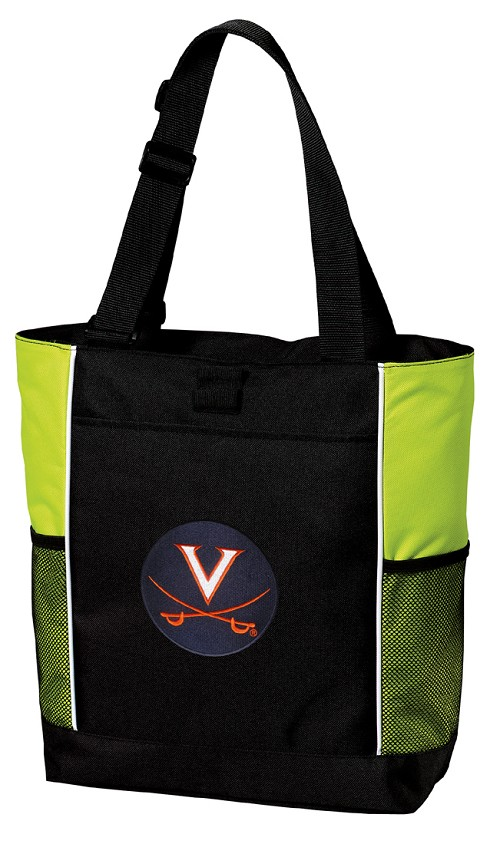 UVA University of Virginia Neon Green Tote Bag