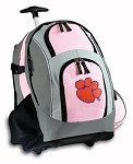 Clemson Rolling Backpack Deluxe Pink