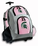 Michigan State University Rolling Backpack Deluxe Pink