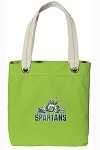 Michigan State Peace Frog NEON Green Cotton Tote Bag