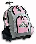 Michigan State Peace Frog Rolling Backpack Deluxe Pink