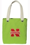 University of Nebraska NEON Green Cotton Tote Bag