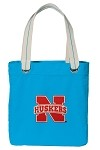 University of Nebraska NEON BLUE Cotton Tote Bag
