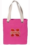 University of Nebraska NEON PINK Cotton Tote Bag