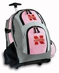 University of Nebraska Rolling Backpack Deluxe Pink
