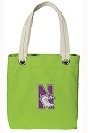 Northwestern University NEON Green Cotton Tote Bag