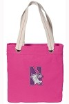 Northwestern University NEON PINK Cotton Tote Bag