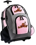 Virginia Tech Peace Frog Rolling Backpack Deluxe Pink