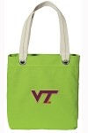 Virginia Tech Hokies NEON Green Cotton Tote Bag