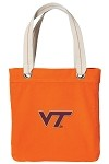 Virginia Tech Hokies NEON Orange Cotton Tote Bag