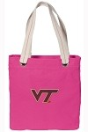 Virginia Tech Hokies NEON PINK Cotton Tote Bag