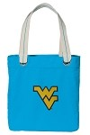 West Virginia University WVU NEON BLUE Cotton Tote Bag