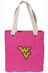 West Virginia University WVU NEON PINK Cotton Tote Bag