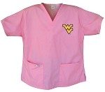 West Virginia University WVU Pink Scrubs Tops SHIRT