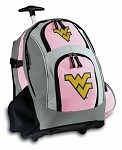 West Virginia University WVU Rolling Backpack Deluxe Pink