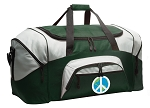 Large Peace Sign Duffle Bag Green