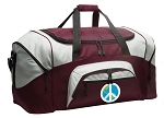 Large Peace Sign Duffle Bag Maroon