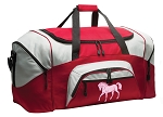 Horse Theme Duffle Bag or Horse Gym Bags Red