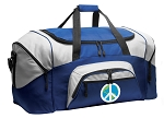 Peace Sign Duffle Bag or World Peace Gym Bags Blue