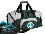 SMALL Peace Sign Gym Bag World Peace Duffle Green