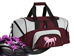 SMALL Horse Gym Bag Horse Theme Duffle Maroon