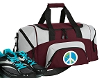 SMALL Peace Sign Gym Bag World Peace Duffle Maroon